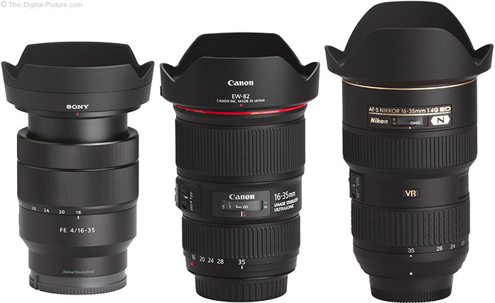 Sony FE 16-35mm f/4 ZA OSS Lens Compared to Similar Lenses with Hoods