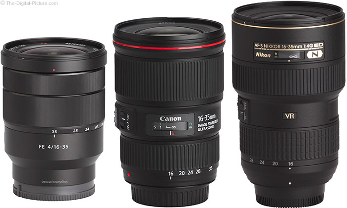 Sony FE 16-35mm f/4 ZA OSS Lens Compared to Similar Lenses