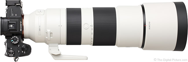 Sony FE 200-600mm f/5.6-6.3 G OSS Lens Top View with Hood