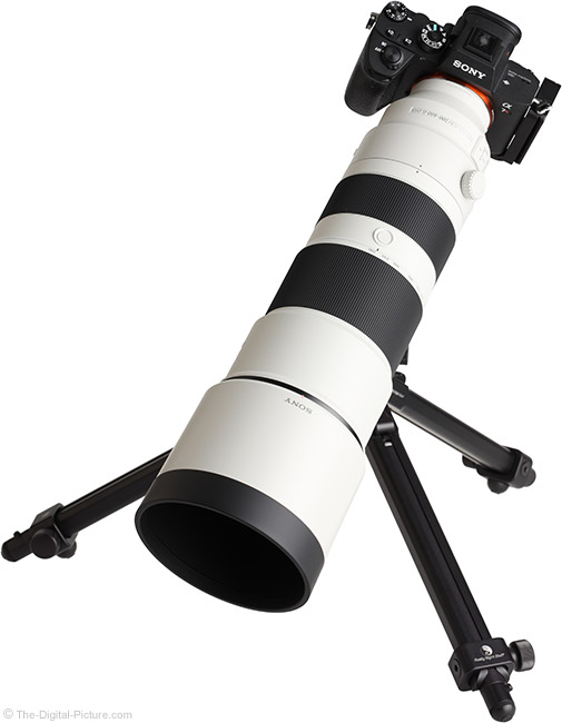 Sony FE 200-600mm f/5.6-6.3 G OSS Lens on Tripod with Hood
