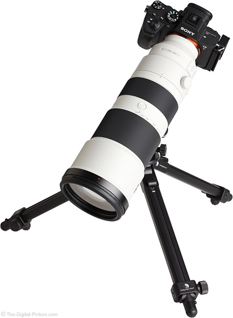 Sony FE 200-600mm f/5.6-6.3 G OSS Lens on Tripod