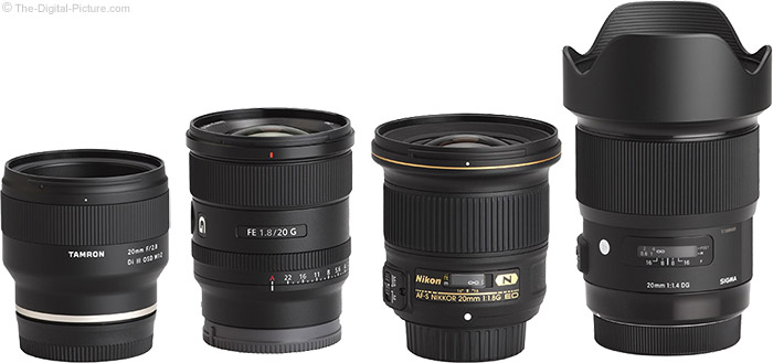 Sony FE 20mm f/1.8 G Lens Compared to Similar Lenses