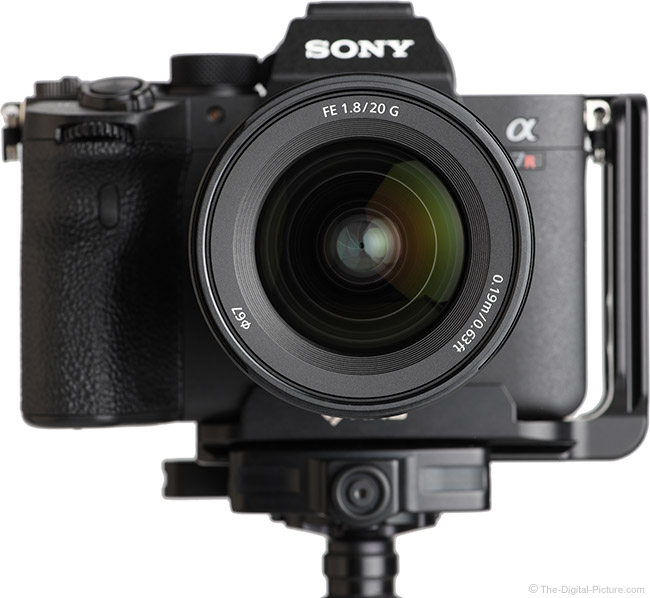 Sony FE 20mm f/1.8 G Lens Front View on Camera