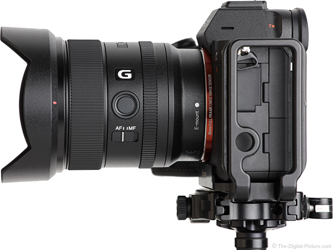 Sony FE 20mm f/1.8 G Lens Side View with Hood