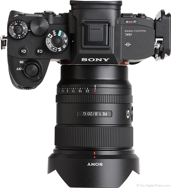 Sony FE 20mm f/1.8 G Lens Top View with Hood