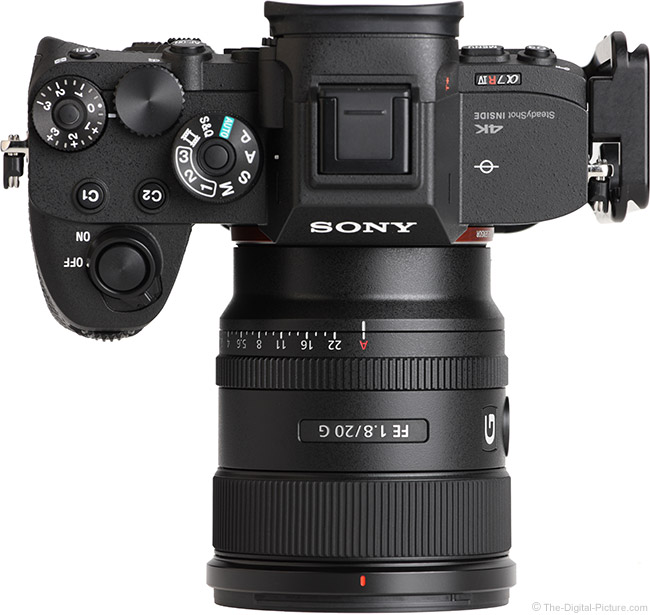 Sony FE 20mm f/1.8 G Lens Top View