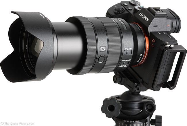 Sony FE 24-105mm f/4 G OSS Lens Angle View Extended with Hood