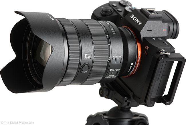 Sony FE 24-105mm f/4 G OSS Lens Angle View with Hood