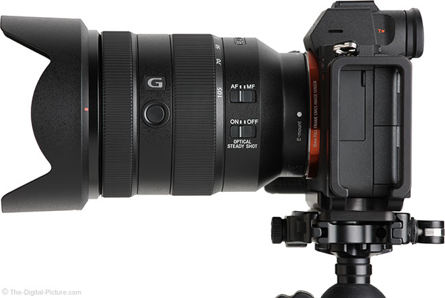 Sony FE 24-105mm f/4 G OSS Lens Side View with Hood