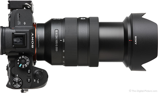 Sony FE 24-105mm f/4 G OSS Lens Extended Top View with Hood