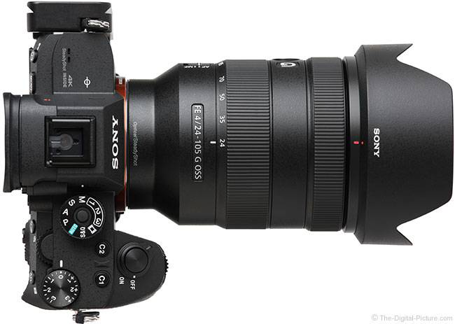Sony FE 24-105mm f/4 G OSS Lens Top View with Hood