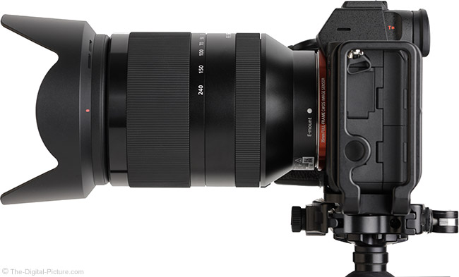 Sony FE 24-240mm f/3.5-6.3 OSS Lens Side View with Hood