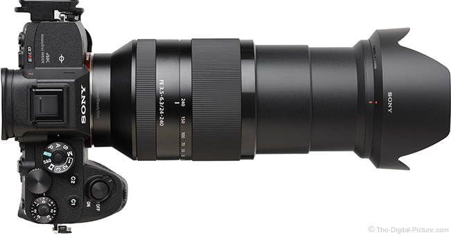 Sony FE 24-240mm f/3.5-6.3 OSS Lens Extended Top View with Hood