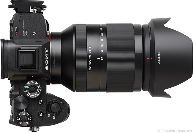 Sony FE 24-240mm f/3.5-6.3 OSS Lens Top View with Hood