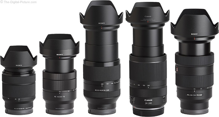 Sony FE 24-240mm f/3.5-6.3 OSS Lens Compared to Similar Lenses with Hoods