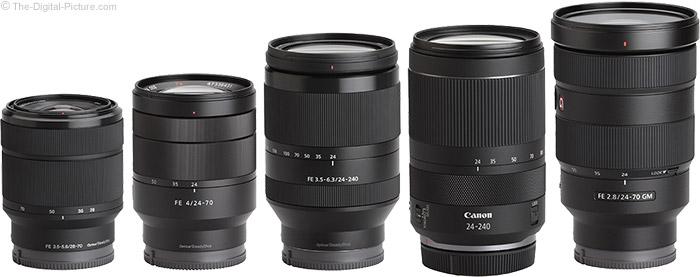 Sony FE 24-240mm f/3.5-6.3 OSS Lens Compared to Similar Lenses