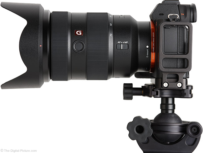 Sony FE 24-70mm f/2.8 GM Lens Side View with Hood