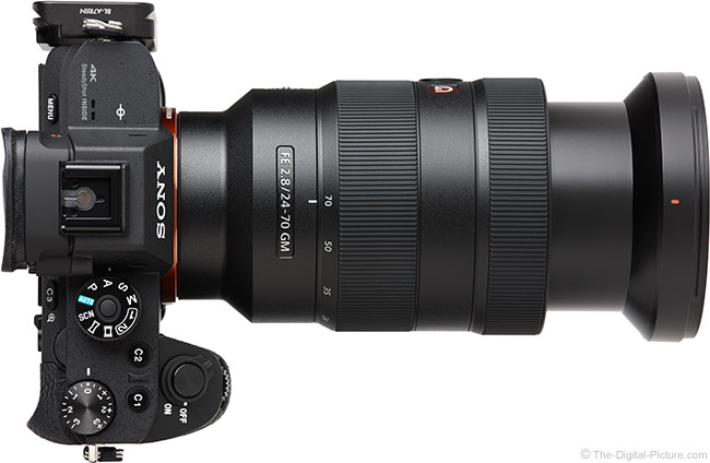 Sony FE 24-70mm f/2.8 GM Lens Extended Top View