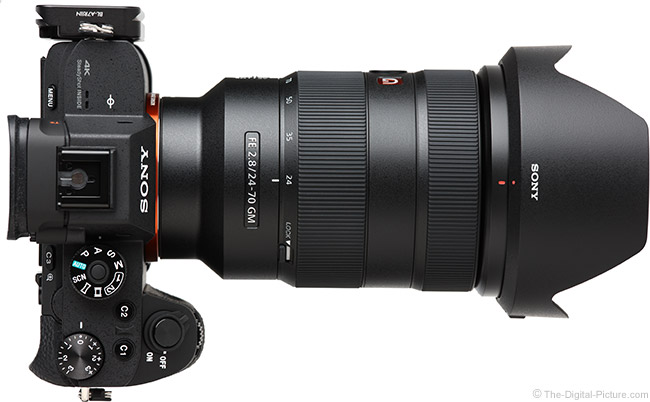 Sony FE 24-70mm f/2.8 GM Lens Top View with Hood