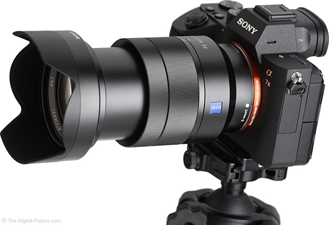 Sony FE 24-70mm f/4 ZA OSS Lens Angle View Extended with Hood