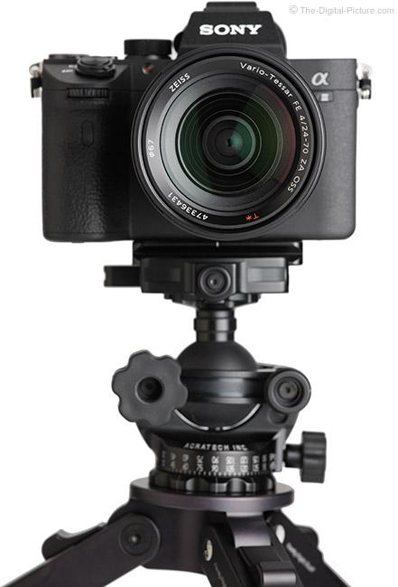 Sony FE 24-70mm f/4 ZA OSS Lens Front View on Camera