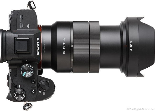 Sony FE 24-70mm f/4 ZA OSS Lens Extended Top View with Hood