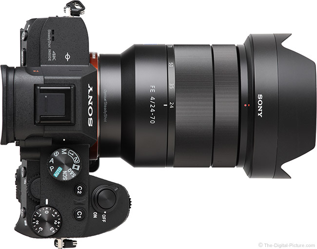 Sony FE 24-70mm f/4 ZA OSS Lens Top View with Hood