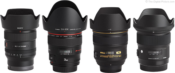 Sony FE 24mm f/1.4 GM Lens Compared to Similar Lenses with Hoods