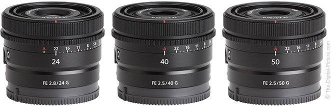 Sony FE 24mm, 40mm, and 50mm G Compact Prime Lenses