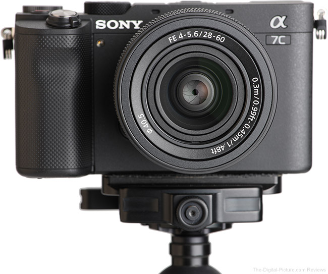 Sony FE 28-60mm f/4-5.6 Lens Front View on Camera