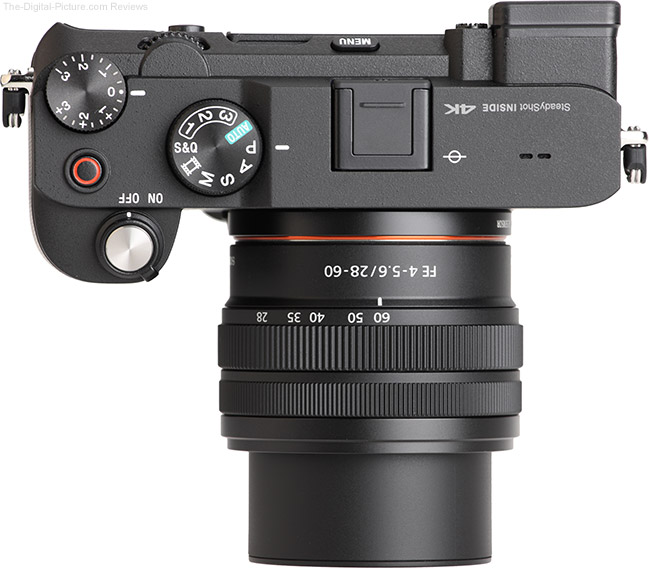 Sony FE 28-60mm f/4-5.6 Lens Extended Top View