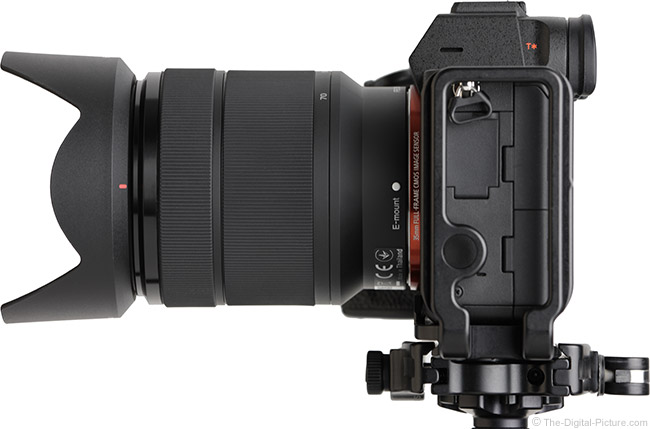 Sony FE 28-70mm f/3.5-5.6 OSS Lens Side View with Hood