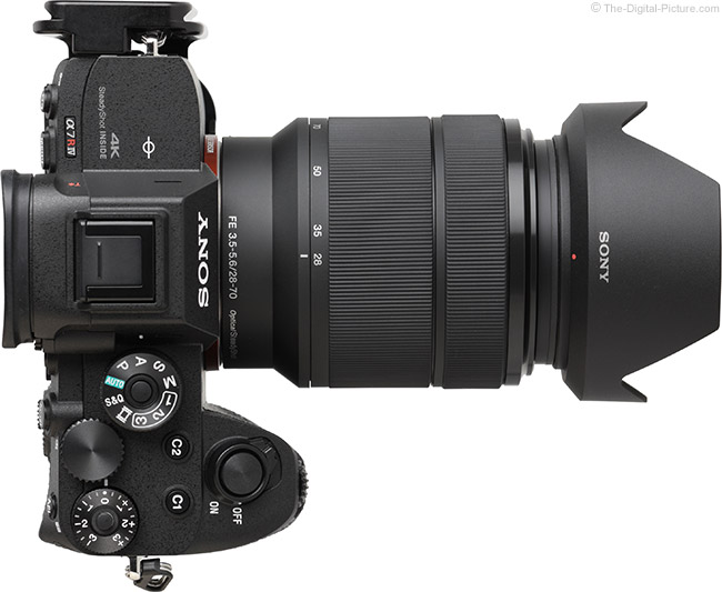 Sony FE 28-70mm f/3.5-5.6 OSS Lens Extended Top View with Hood