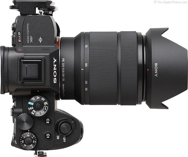Sony FE 28-70mm f/3.5-5.6 OSS Lens Top View with Hood