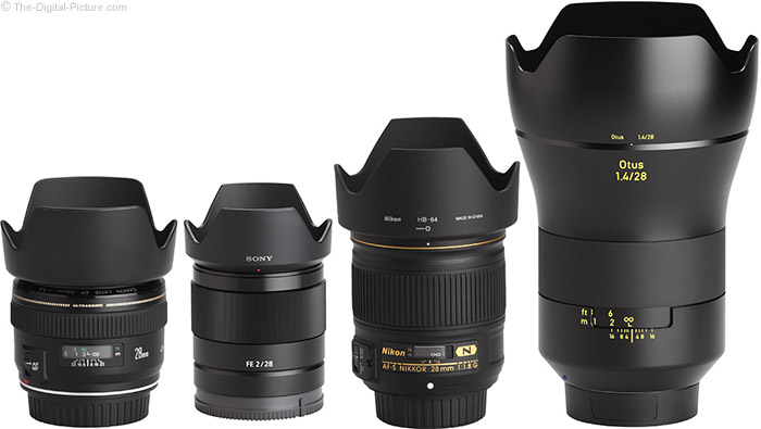Sony FE 28mm f/2 Lens Compared to Similar Lenses with Hoods