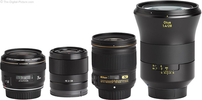 Sony FE 28mm f/2 Lens Compared to Similar Lenses