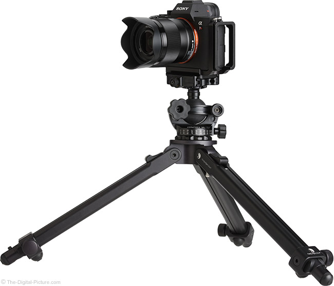 Sony FE 28mm f/2 Lens on Tripod Side View