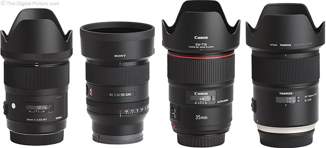 Sony FE 35mm f/1.4 GM Lens Compared to Similar Lenses with Hoods