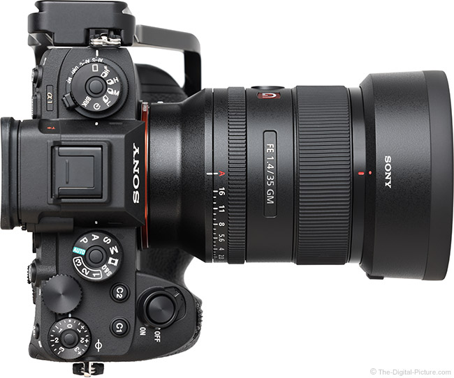 Sony FE 35mm f/1.4 GM Lens Top View with Hood