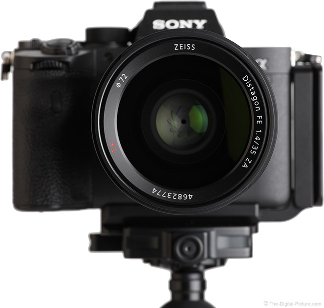 Sony FE 35mm f/1.4 ZA Lens Front View on Camera