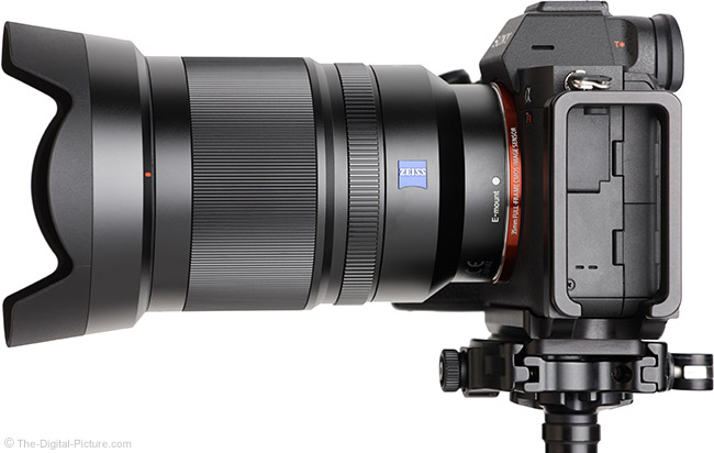 Sony FE 35mm f/1.4 ZA Lens Side View with Hood