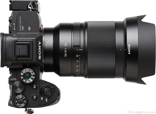 Sony FE 35mm f/1.4 ZA Lens Top View with Hood