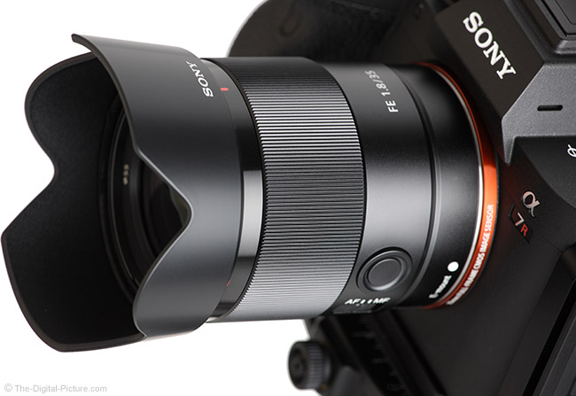 Sony FE 35mm f/1.8 Lens Angle View with Hood
