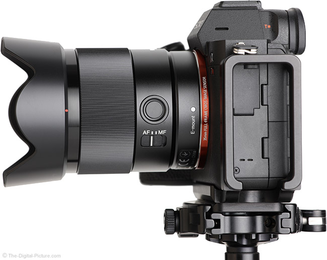 Sony FE 35mm f/1.8 Lens Side View with Hood