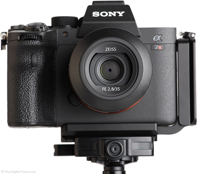 Sony FE 35mm f/2.8 ZA Lens Front View with Hood