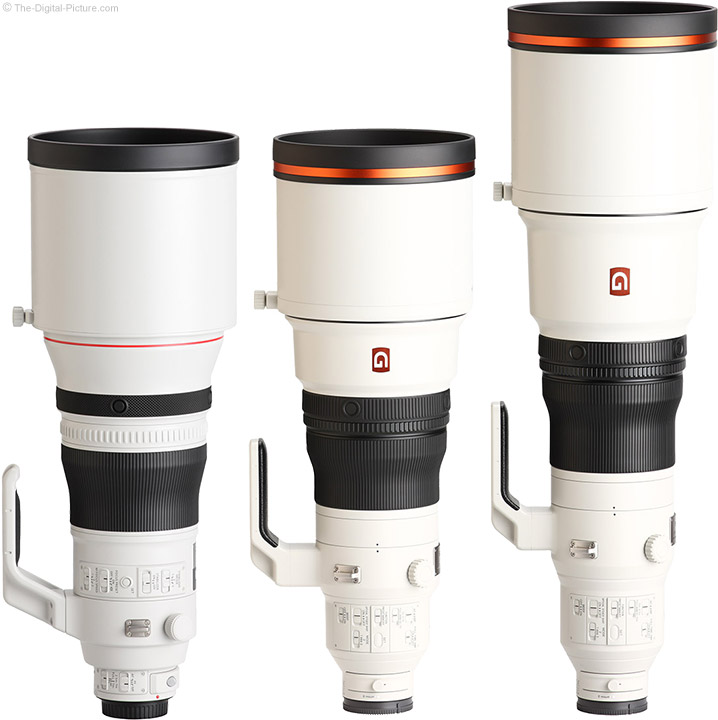 Sony FE 400mm f/2.8 GM OSS Lens Compared to Similar Lenses with Hoods