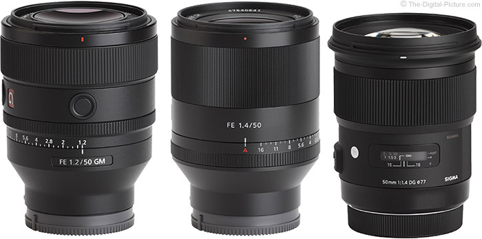 Sony FE 50mm f/1.2 GM Lens Compared to Similar Lenses