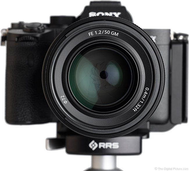 Sony FE 50mm f/1.2 GM Lens Front View on Camera