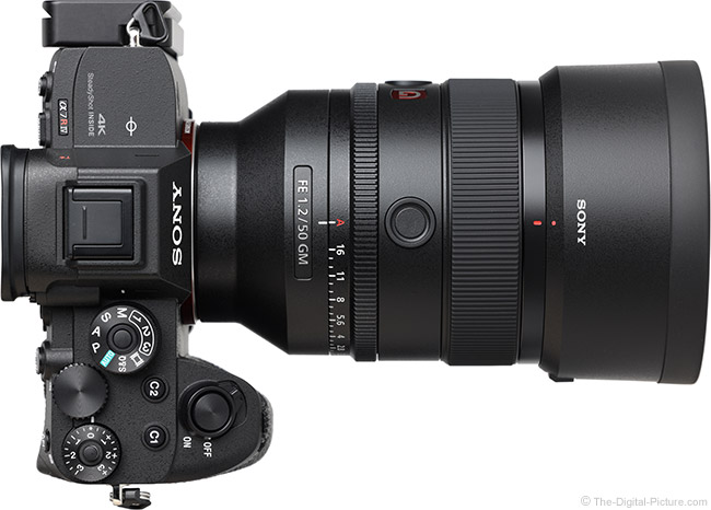 Sony FE 50mm f/1.2 GM Lens Top View with Hood