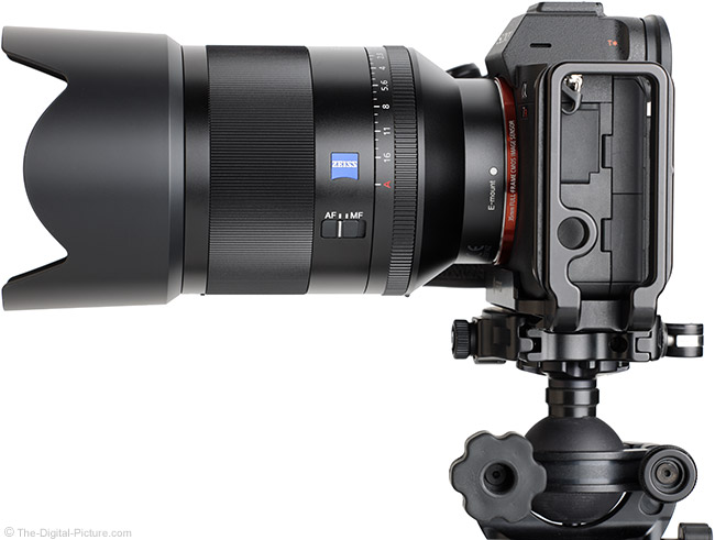 Sony FE 50mm f/1.4 ZA Lens Side View with Hood